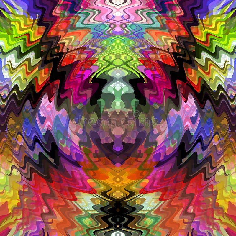 Cyfrowego obrazu złudzenia Abstrakcjonistyczny Chaotyczny Falisty wzór w Kolorowym Pastelowych kolorów tle ilustracja wektor