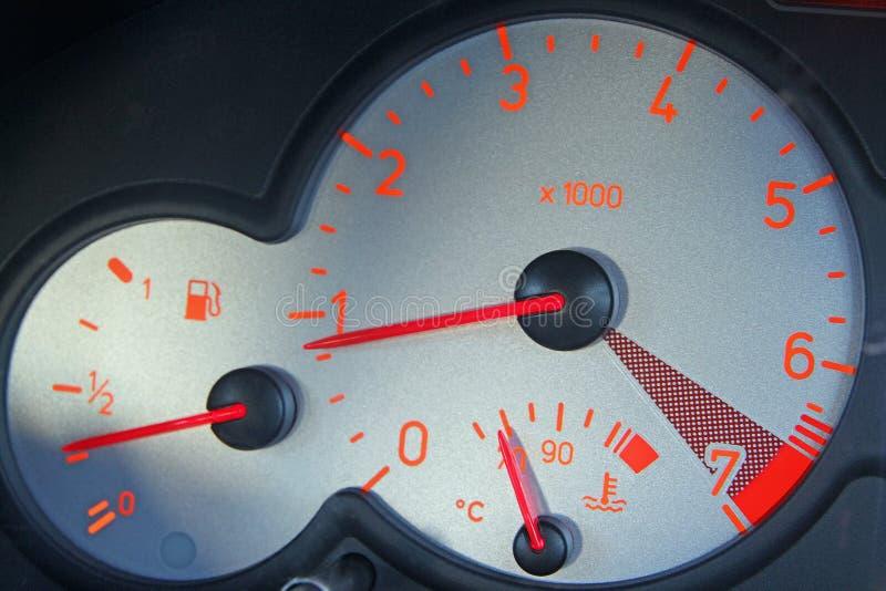 Cyfrowego odległość w milach zegaru samochodowy szybkościomierz fotografia royalty free