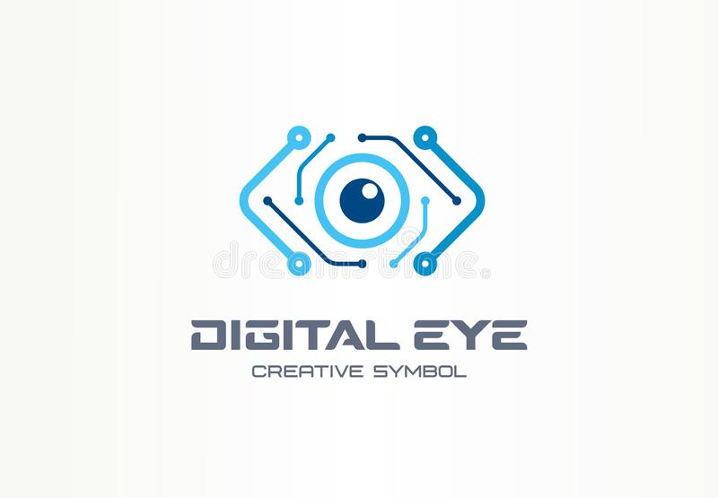 Cyfrowego oka symbolu kreatywnie pojęcie Cyber wzrok, obwód deski abstrakcjonistyczny biznesowy logo Kamera wideo kontrola royalty ilustracja