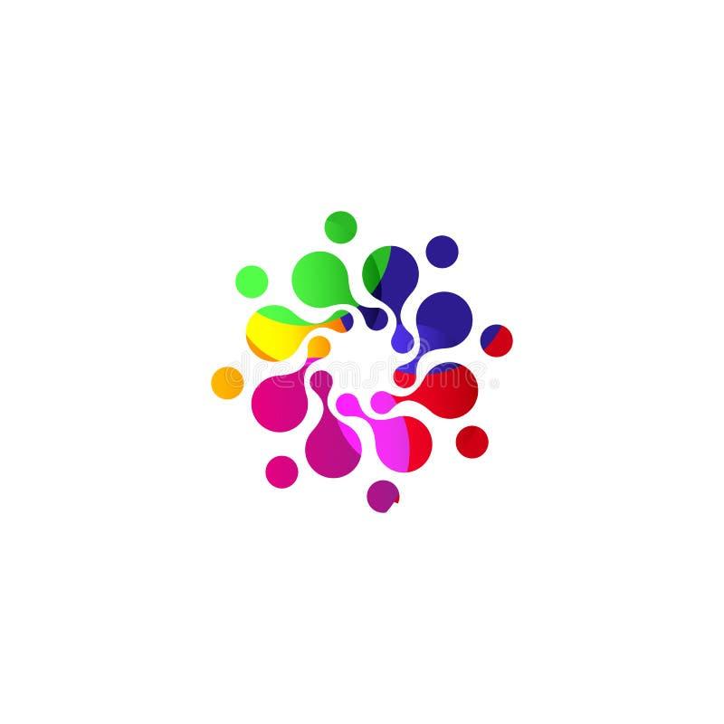Cyfrowego okręgu loga kolorowy odosobniony szablon Stylizowana abstrakcjonistyczna płatka śniegu, kwiatu lub słońca wektoru ilust ilustracja wektor