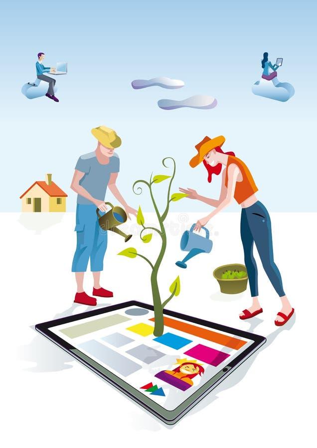 Cyfrowego Pastylki Ogrodniczki ilustracji
