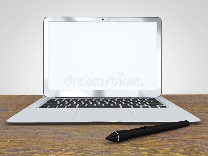 Cyfrowego pióro i laptop, praca, grafika, pomysł Drewniany biurko ilustracji