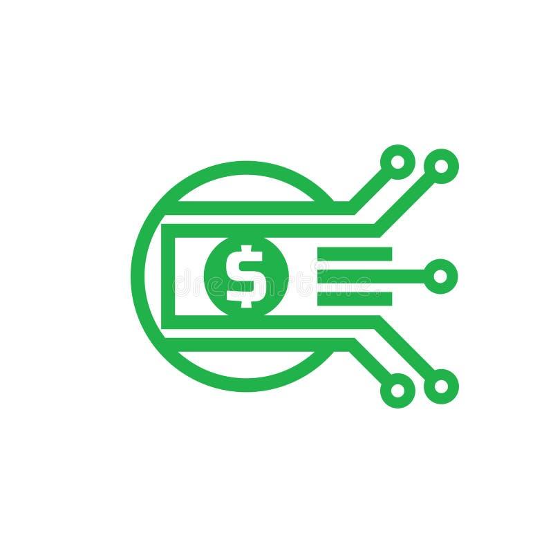 Cyfrowego pieniądze dolar - wektorowa loga szablonu ilustracja Waluta - kreatywnie znak elementy projektu podobieństwo ilustracyj ilustracji