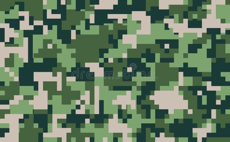 Cyfrowego piksla kamuflaż, bezszwowa tekstura Militarny nowożytny mundur Zielony lasu camo, powtórka druk ilustracja wektor