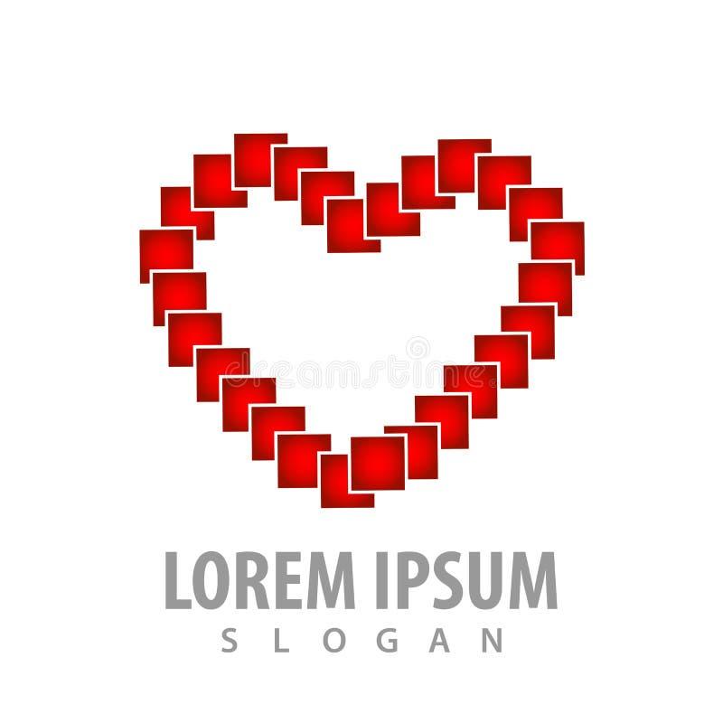 Cyfrowego piksla miłości kształta logo pojęcia projekt Symbolu szablonu elementu graficzny wektor ilustracji