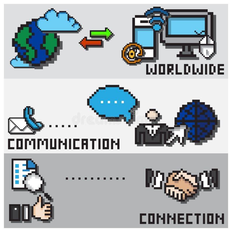 Cyfrowego piksla projekta Komunikacyjny pojęcie ilustracja wektor