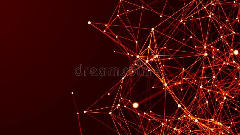 Cyfrowego plexus lub sieć jarzyć się wykładamy i kropki t?o futurystyczny abstrakcyjne ?wiadczenia 3 d ilustracja wektor