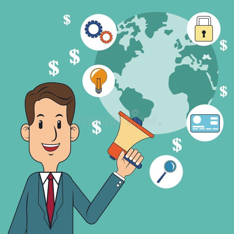 Cyfrowego pojęcia mężczyzna megafonu marketingowy świat royalty ilustracja