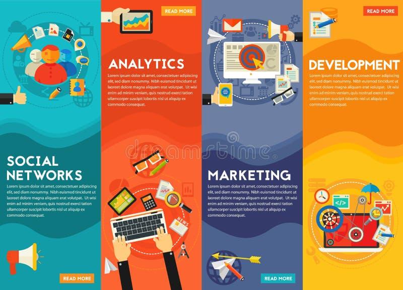 Cyfrowego pojęcia Marketingowi sztandary royalty ilustracja