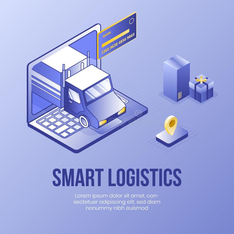 Cyfrowego projekta isometric pojęcie ustawiający mądrze logistyki app 3d doręczeniowe ikony Isometric biznesu finanse bank royalty ilustracja
