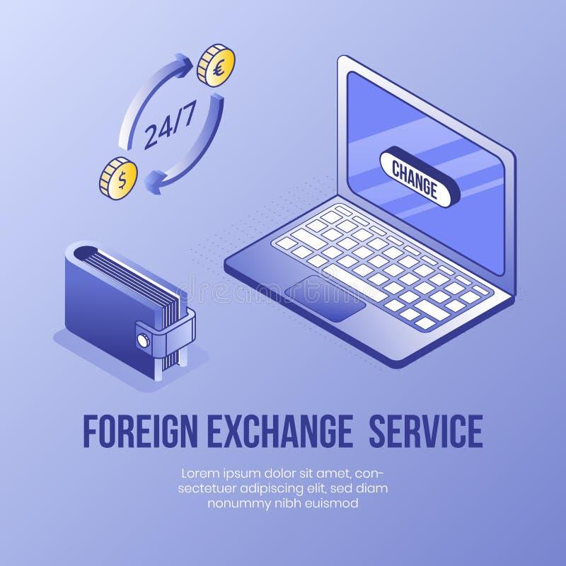 Cyfrowego projekta isometric pojęcie ustawiający online wymiana walut app 3d ikony Isometric biznesu finanse laptop ilustracja wektor
