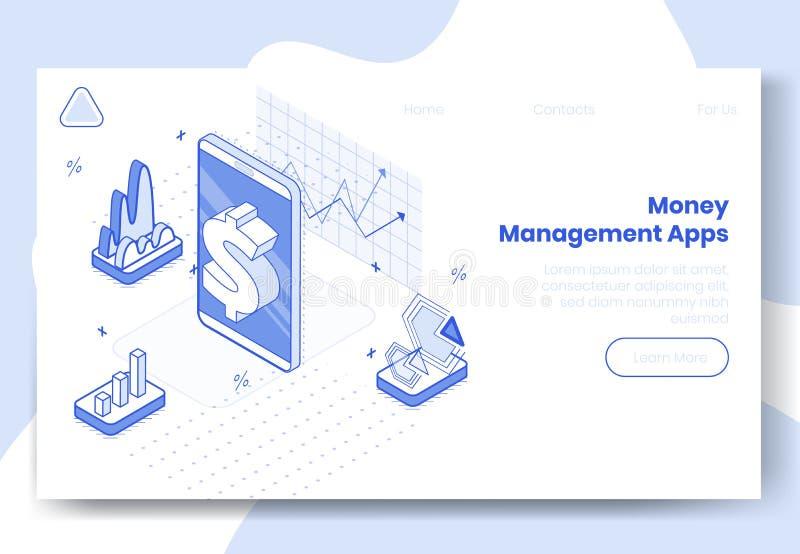 Cyfrowego projekta isometric pojęcie ustawiający pieniądze zarządzania app 3d ikony Isometric biznesu finanse wiszącej ozdoby tel ilustracja wektor