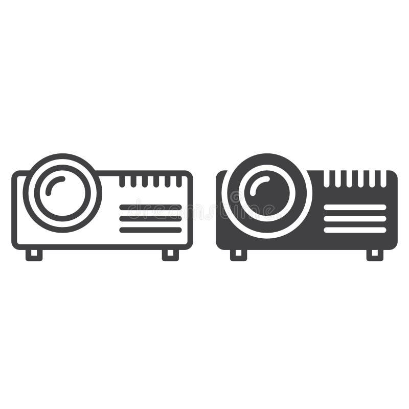 Cyfrowego projektor kreskowy, stała ikona, kontur i piktogram odizolowywający na bielu, wypełniający wektoru znaka, liniowego i p royalty ilustracja