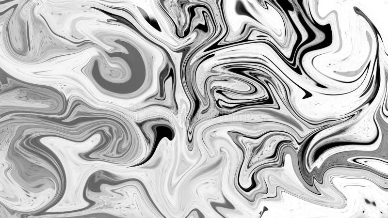 Cyfrowego protonowy czarny i biały abstrakcjonistyczny tło z upłynnia przepływ elementy projektu podobie?stwo ilustracyjny wektor ilustracji