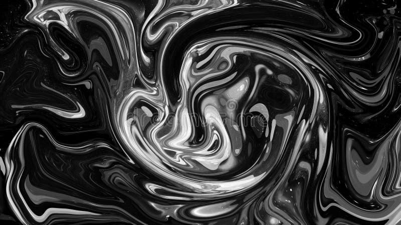 Cyfrowego protonowy czarny i biały abstrakcjonistyczny tło z upłynnia przepływ elementy projektu podobie?stwo ilustracyjny wektor ilustracja wektor