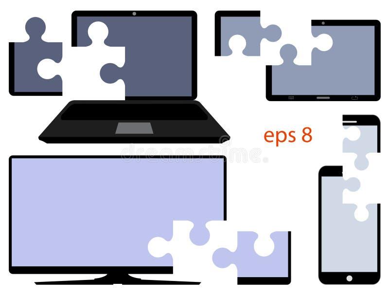Cyfrowego przyrząd z cięciem rozdziela w postaci łamigłówek wektor royalty ilustracja