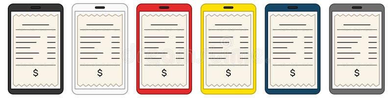 Cyfrowego rachunek w smartphone ekranu secie ilustracja wektor