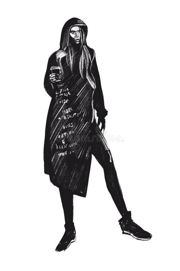 Cyfrowego raster ilustracyjna dziewczyna w kapiszonie z kawą w papierowej filiżance w czarnym kolorze odizolowywającym protestuje royalty ilustracja