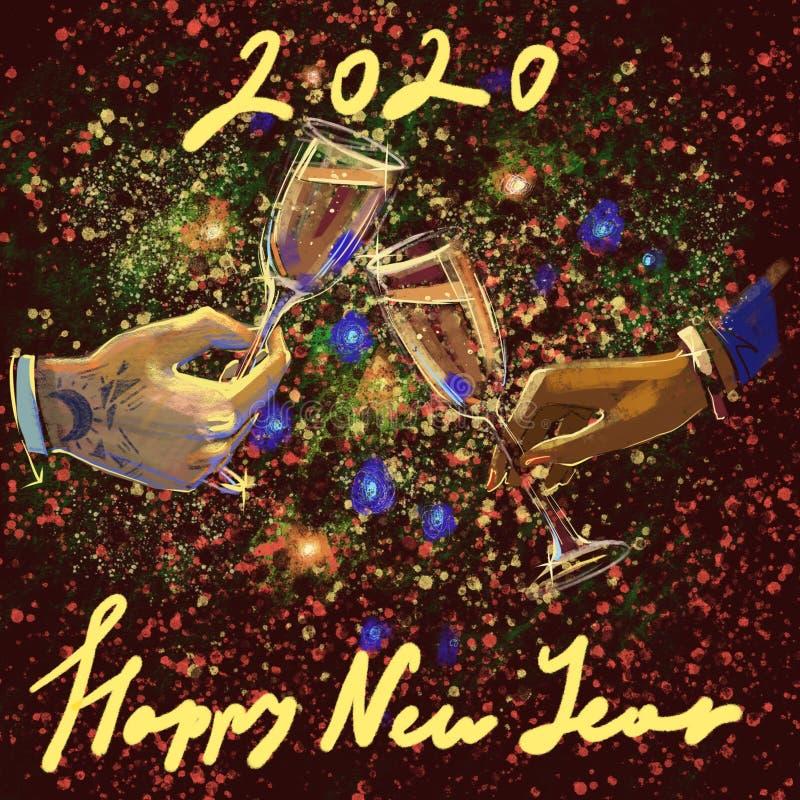Cyfrowego raster ilustracyjne r?ki m??czyzny i kobiety mienia wineglasses z champaign z pisa? list nowego roku 2020 z kolorem ? royalty ilustracja