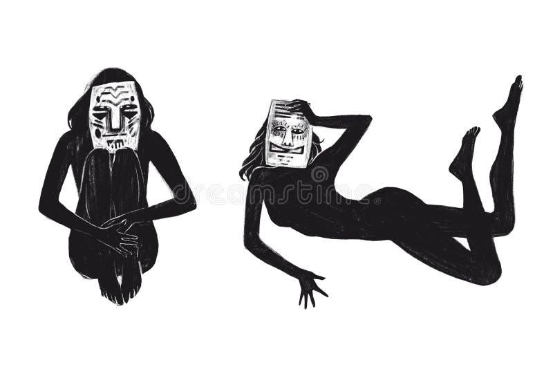 Cyfrowego raster ilustracyjny obsiadanie i łgarska dziewczyna w masce w czarny kolor odizolowywających przedmiotach na białym tle ilustracji