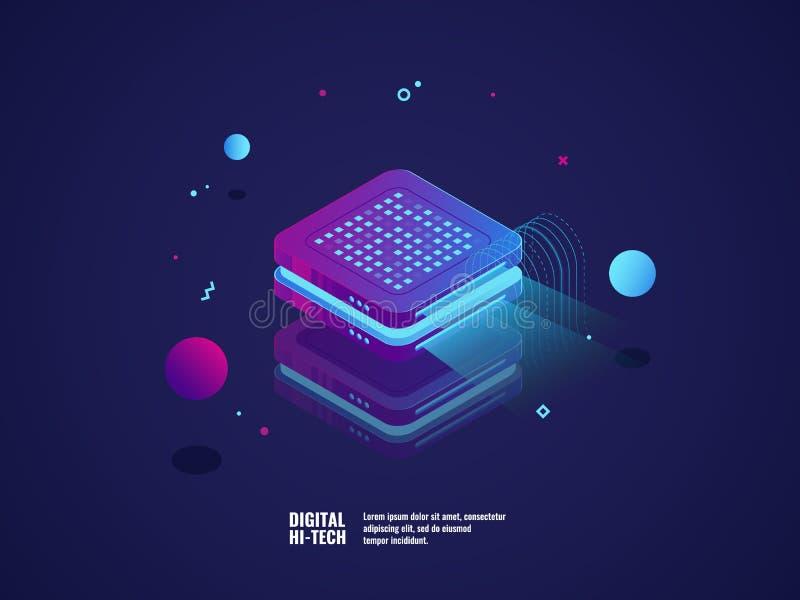 Cyfrowego reklamowy pojęcie, hologram projekcja, prezentaci pojęcie, online promocyjny neonowy światło, isometric wektor ilustracji