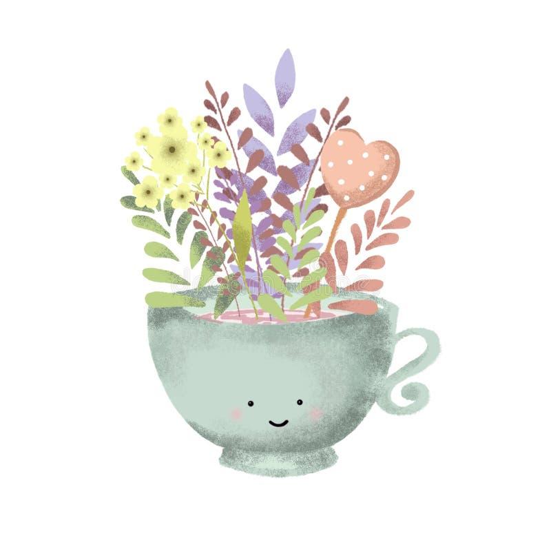 Cyfrowego remisu kwiat w filiżanki ilustraci fotografia stock