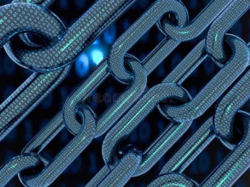 Cyfrowego tło zero jeden łańcuchu royalty ilustracja