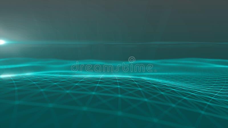 Cyfrowego t?a Abstrakcjonistyczny poligonalny astronautyczny t?o z z??czonych linii Pod??czeniow? struktur? HUD nauki t?o ilustracji