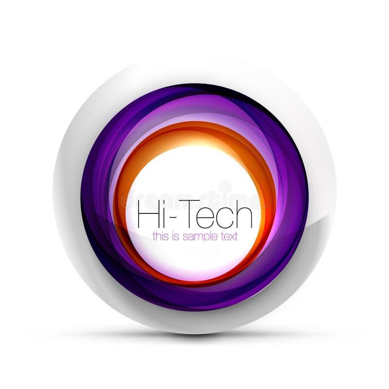 Cyfrowego techno sfery sieci sztandar, guzik lub ikona z tekstem, Glansowanego zawijasa koloru okręgu abstrakcjonistyczny projekt ilustracja wektor