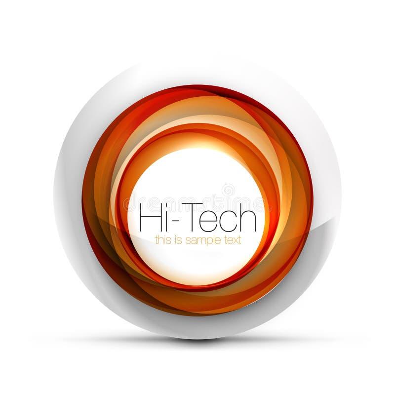 Cyfrowego techno sfery sieci sztandar, guzik lub ikona z tekstem, Glansowanego zawijasa koloru okręgu abstrakcjonistyczny projekt royalty ilustracja