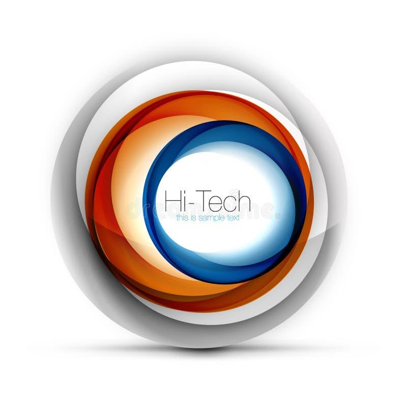 Cyfrowego techno sfery sieci sztandar, guzik lub ikona z tekstem, Glansowanego zawijasa koloru okręgu abstrakcjonistyczny projekt ilustracji