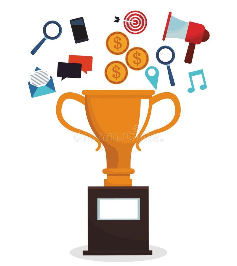Cyfrowego trofeum kampanii marketingowy wizerunek ilustracja wektor