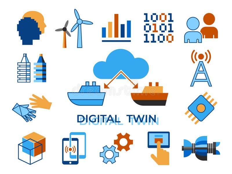 Cyfrowego tween asystenta wektorowa cyfrowa technologia ilustracji