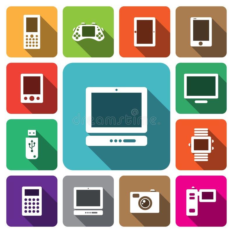 Cyfrowego urządzenia elektronicznego ikony multimedialny set ilustracja wektor