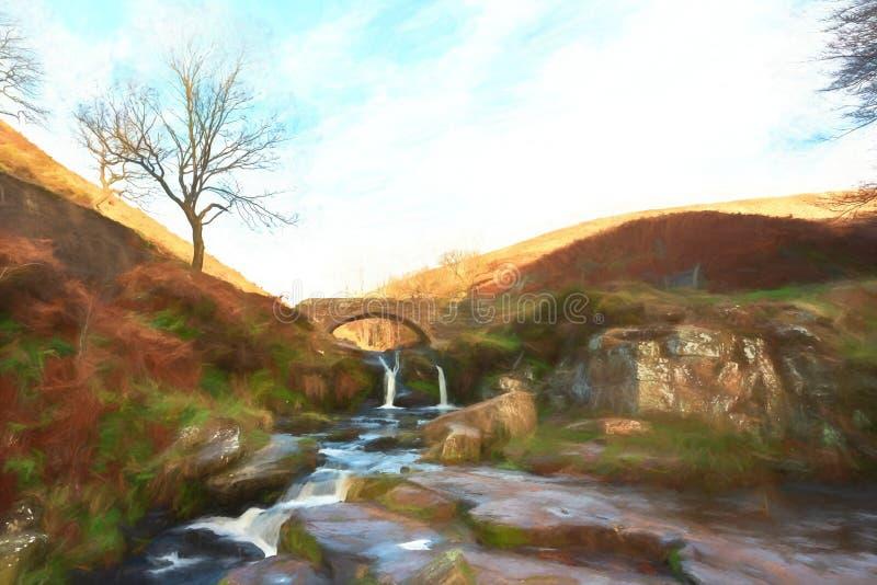 Cyfrowego watercolour jesienny siklawy i kamienia packhorse ilustracja wektor