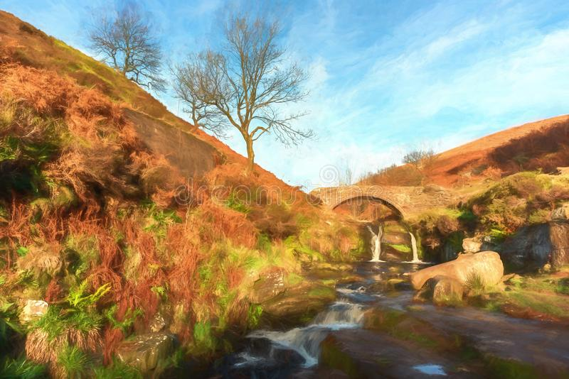 Cyfrowego watercolour jesienny siklawy i kamienia packhorse royalty ilustracja