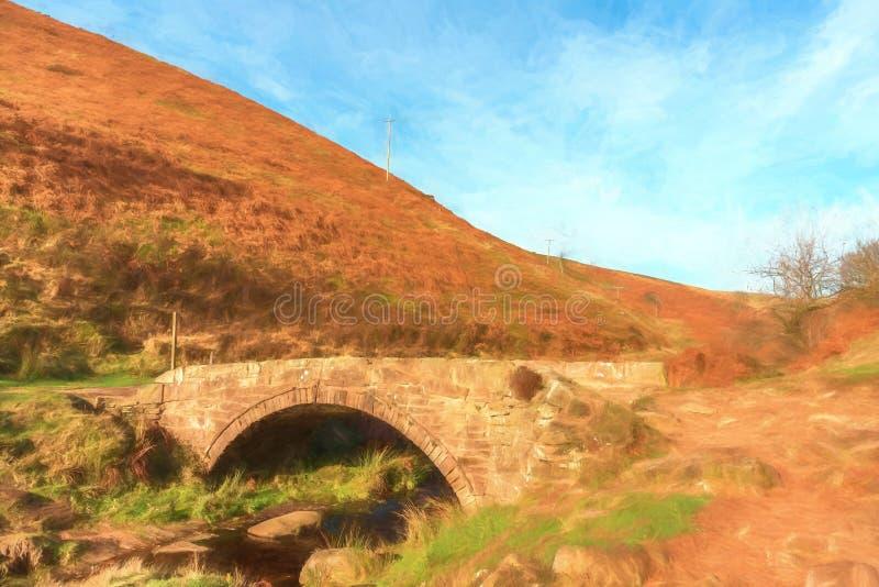 Cyfrowego watercolour jesienny siklawy i kamienia packhorse ilustracji