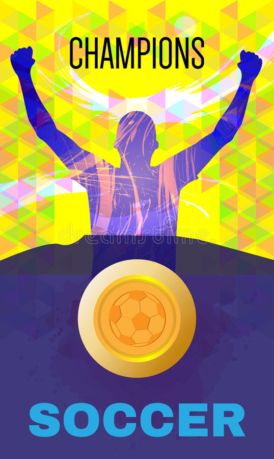 Cyfrowego wektor, abstrakcjonistyczni zwycięzcy sportman mistrzowie royalty ilustracja