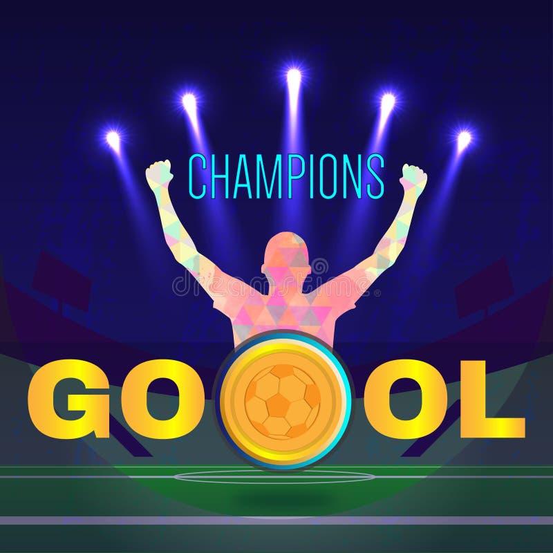 Cyfrowego wektoru, futbolu i piłki nożnej mistrzowie, ilustracji