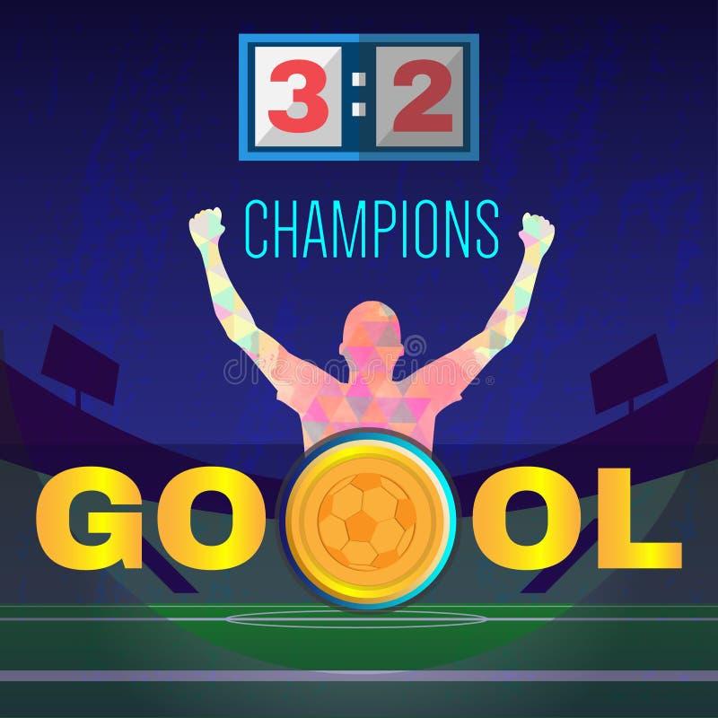 Cyfrowego wektoru, futbolu i piłki nożnej mistrzowie, ilustracja wektor