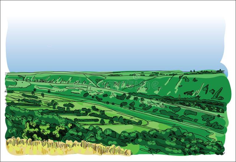 Cyfrowego wektoru krajobraz przy orheiul vechi ilustracji