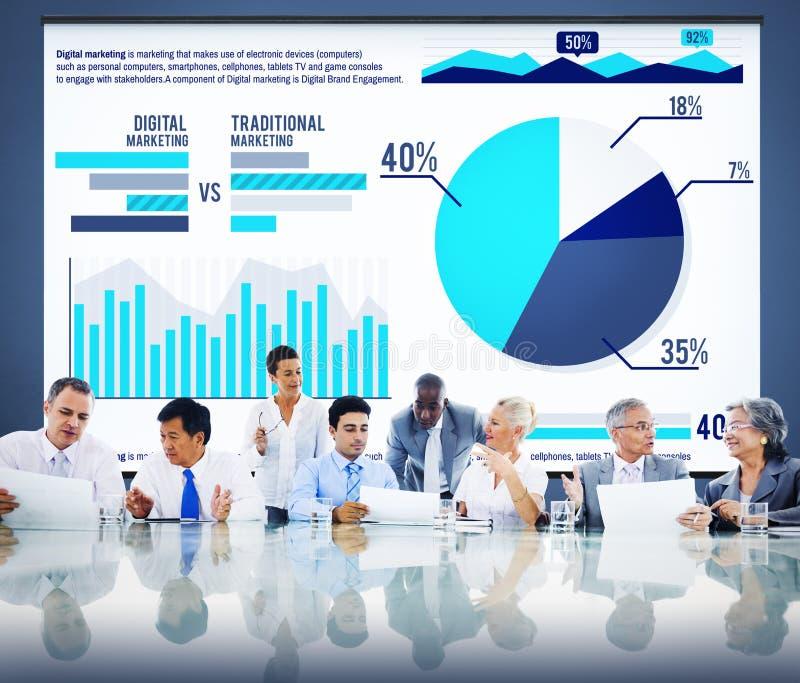 Cyfrowego wykresu statystyk Marketingowej analizy Finansowy rynek Conce ilustracja wektor