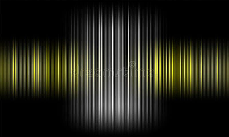 Cyfrowego wyrównywacza audio rozsądne fale na czarnym tle, stereo efekta dźwiękowego sygnał ilustracja wektor