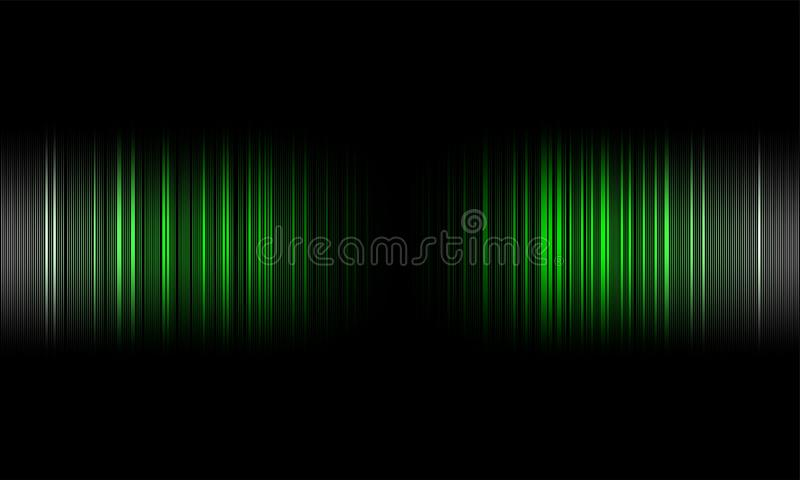 Cyfrowego wyrównywacza audio rozsądne fale na czarnym tle, stereo efekta dźwiękowego sygnał royalty ilustracja