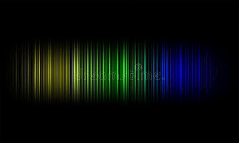Cyfrowego wyrównywacza audio rozsądne fale na czarnym tle, stereo efekta dźwiękowego sygnał ilustracji