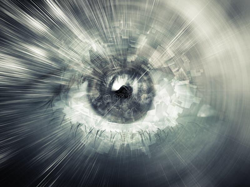 Cyfrowego wzroku pojęcie, abstrakcjonistyczna komputerowa ilustracja royalty ilustracja