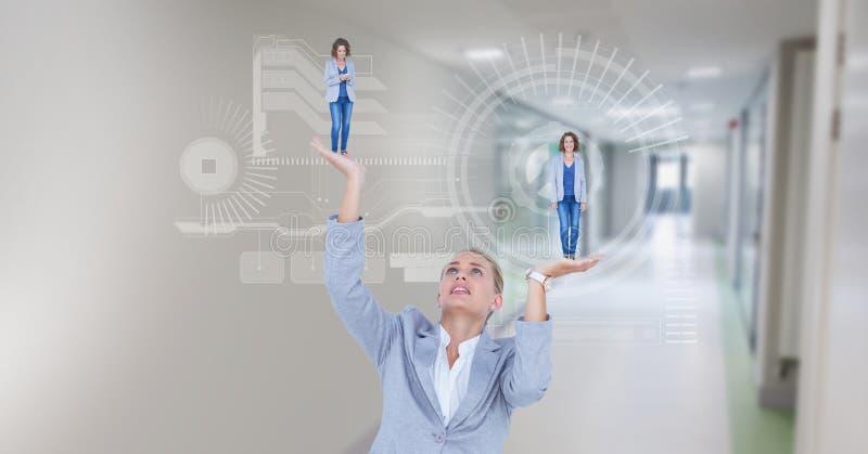 Cyfrowego złożony wizerunek bizneswomanu mienia kierownictwa w rękach z symbolami ilustracji