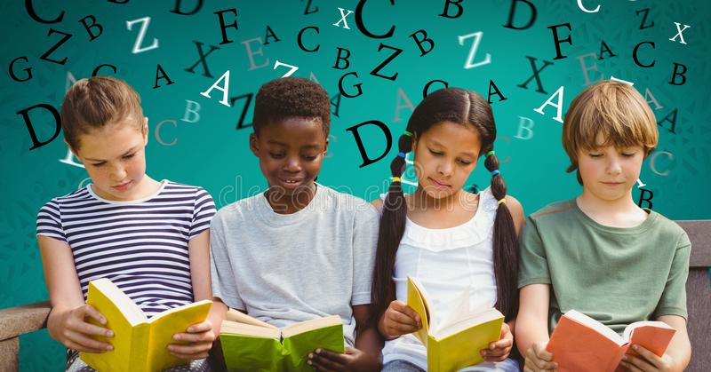 Cyfrowego złożony wizerunek dzieci studiuje na kanapie z listami lata w tle ilustracji