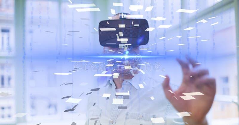 Cyfrowego złożony wizerunek jest ubranym VR szkła biznesmen fotografia royalty free