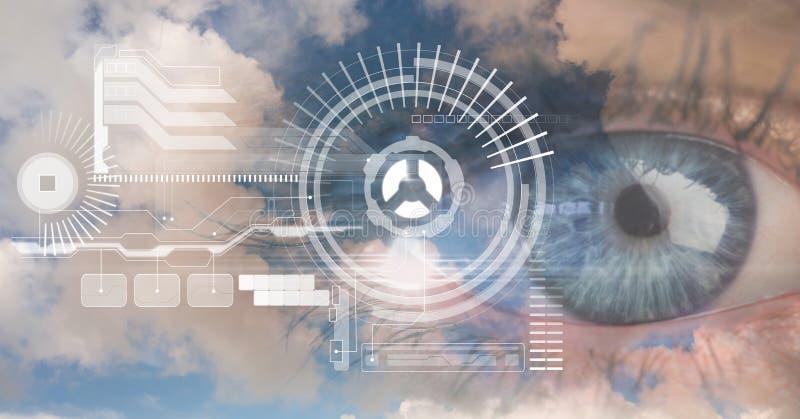 Cyfrowego złożony wizerunek oko interfejs ilustracji